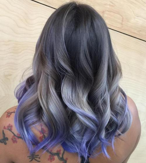 Ash Blonde And Purple Balayage For Dark Brown Hair