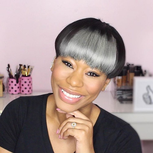 Black Bowl Cut With Silver Bangs