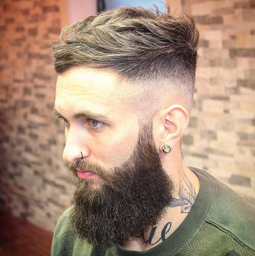 lumberjack hairstyle with long beard