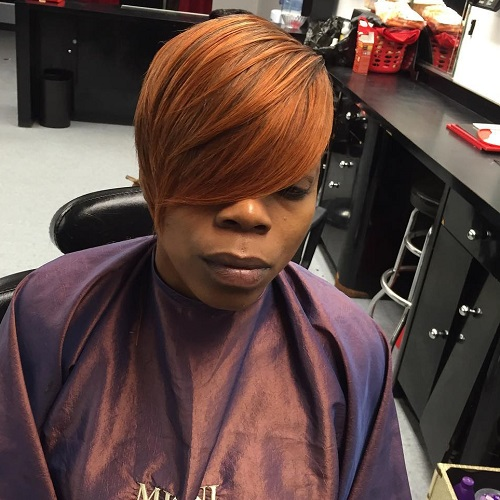 Short Red Peekaboo Sew In