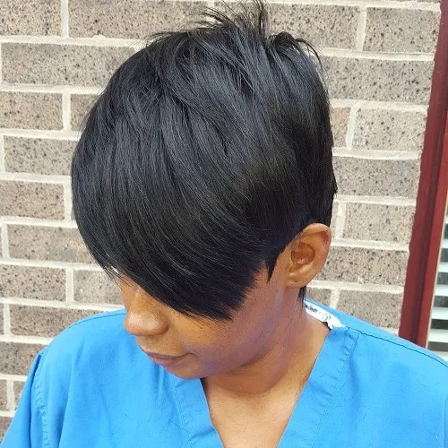 Layered Black Pixie Sew In