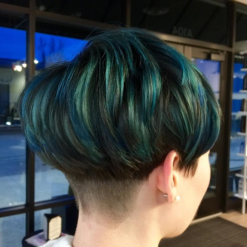 Layered Bowl Cut With Blue And Teal Highlights