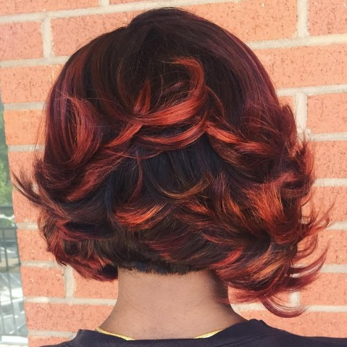 Black Bob With Red Balayage Highlights