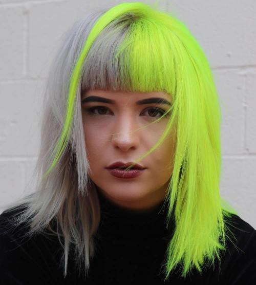 Half Gray Half Neon Yellow Hair