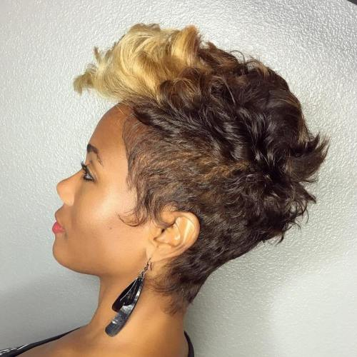 African American Blonde And Brown Pixie
