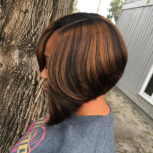 Black Inverted Bob With Caramel Highlights