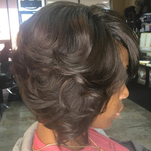 Curly Brown Weave Bob