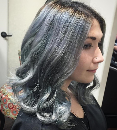 Medium Curly Silver Hair With Black Roots