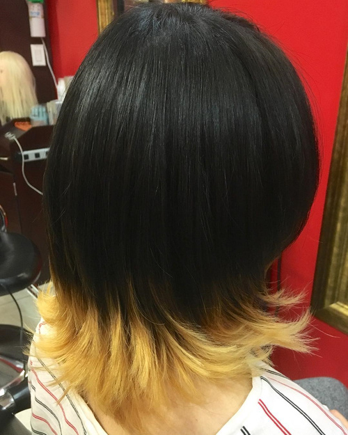 Shorter Black Hair With Blonde Dip Dye