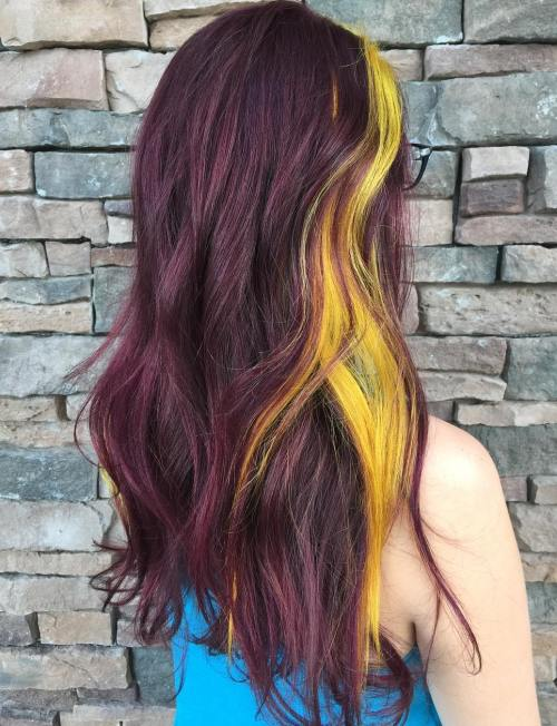 40 two tone hair styles purple brown hair with yellow highlights pmusecretfo Image collections