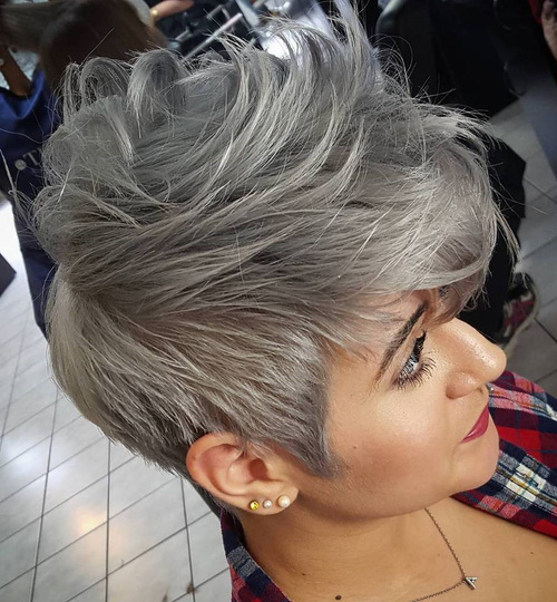 Short Tousled Gray Hairstyle