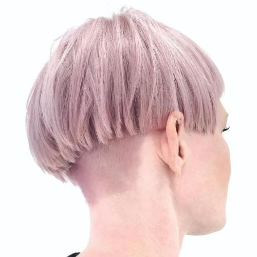 Pink Blonde Layered Bowl Cut