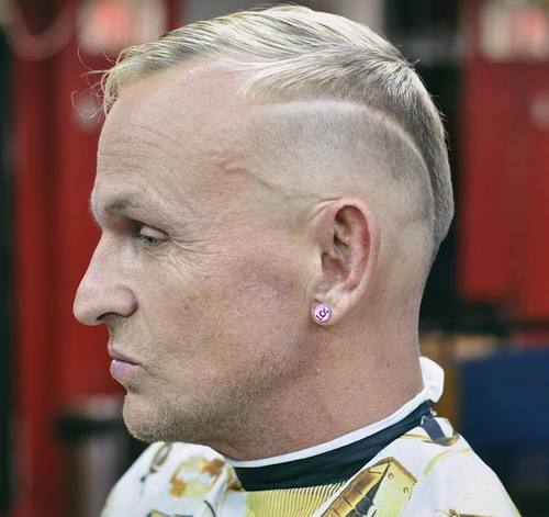 blonde men's hairstyle for receding hairline
