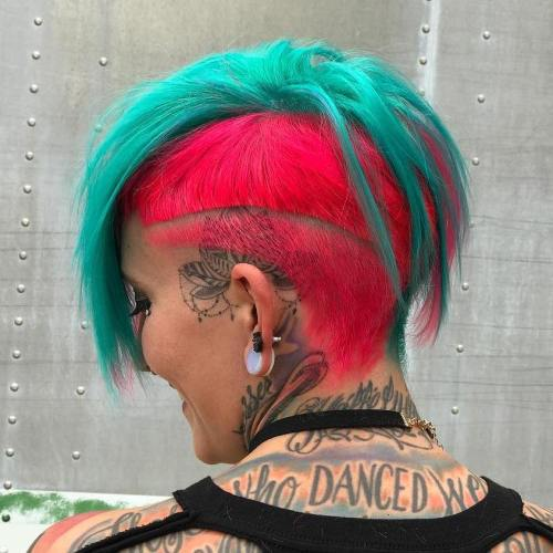 Neon Teal And Pink Undercut Bob