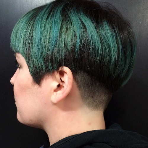 Brunette Bowl Cut With Green Balayage