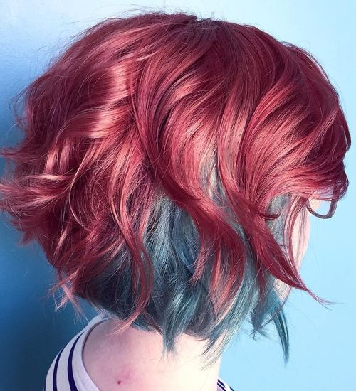 dyed red hair styles 20 fresh teal hair color ideas for and brunettes 4602 | 15 two tone red and blue bob