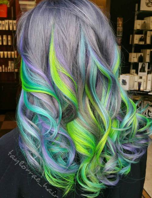 Pastel Purple Hair With Blue And Green Highlights
