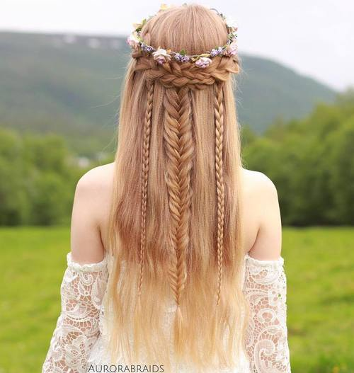 Boho Braided Half Updo For Long Hair