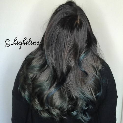 Dark Brown Hair With Subtle Teal Highlights