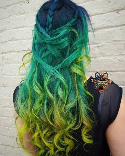 Mermaid Hairstyles mermaid hairstyles mermaid hairstyles Blue Green And Yellow Ombre