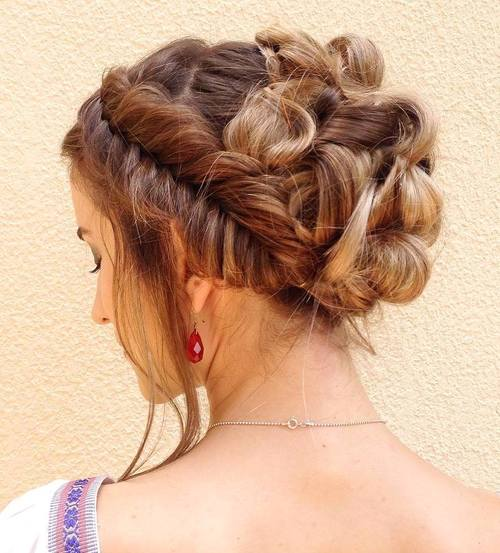 Looped Updo With Fishtail Headband