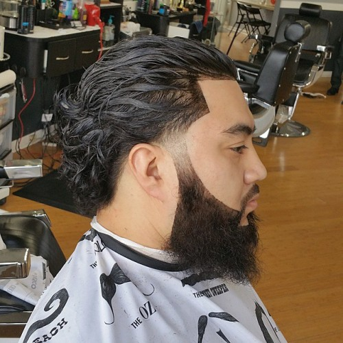 Curly Slick Back With A Beard