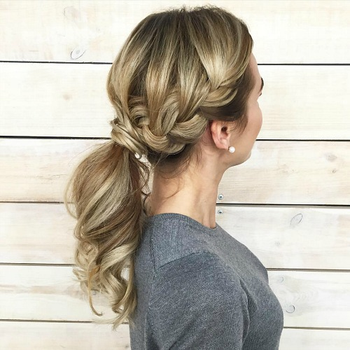 Half French Braid Into Ponytail