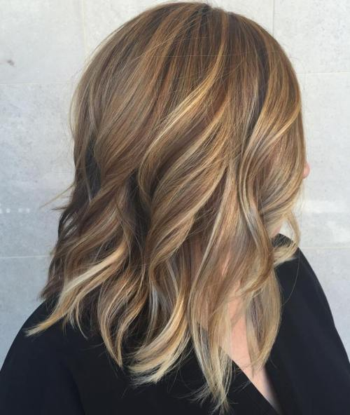 Brown Shoulder Length Hair With Blonde Highlights