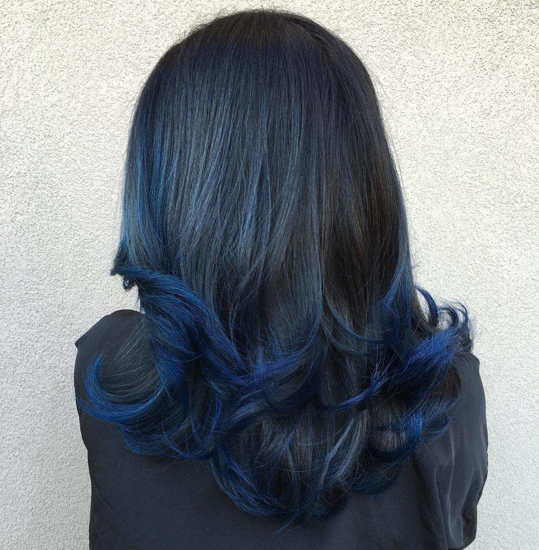 Black Hair With Blue Ends
