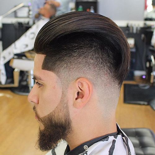 Long Top Fade Haircut With Beard