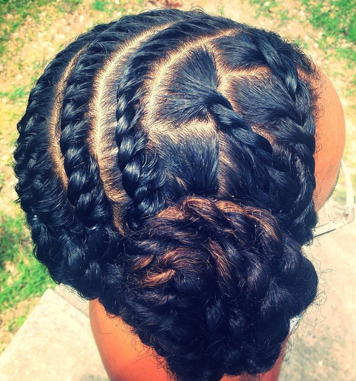 Side Bun With Flat Twists