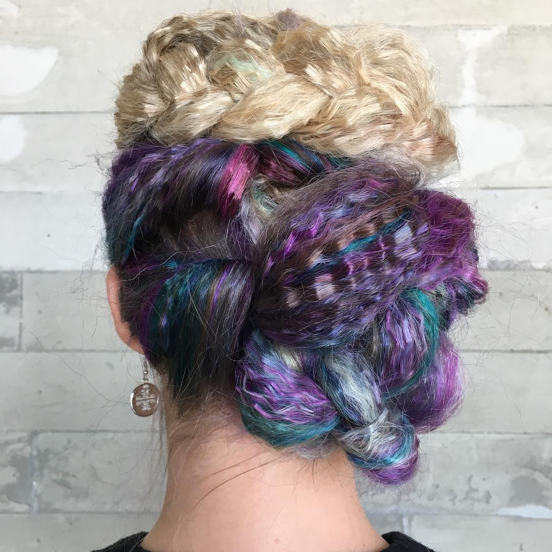 Braided Updo For Crimped Hair