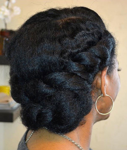Easy Twisted Updo For Natural Hair