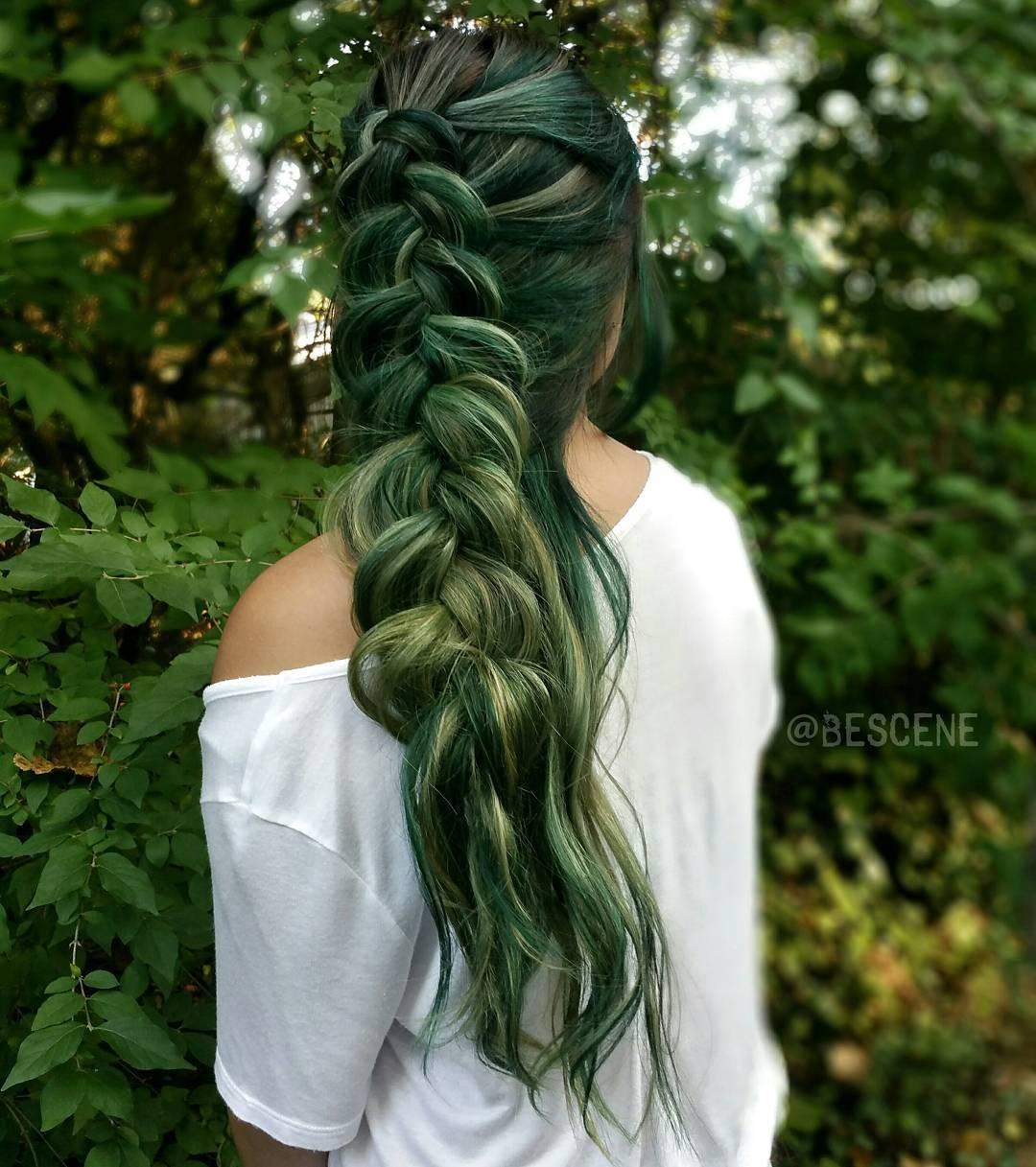 Green hair streaks in black hair