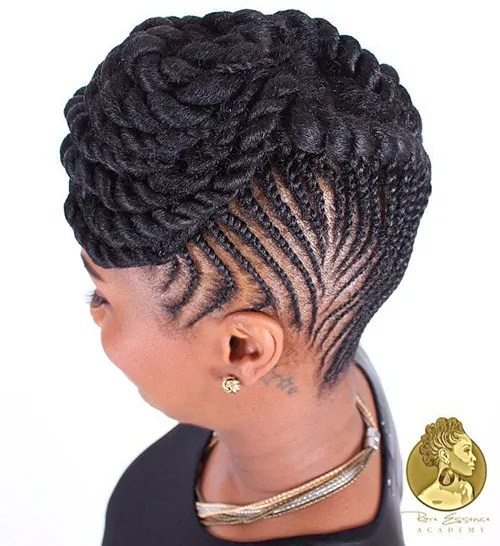 Flat Twist Cornrows Updo