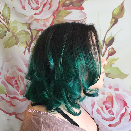 Black And Green Curly Bob