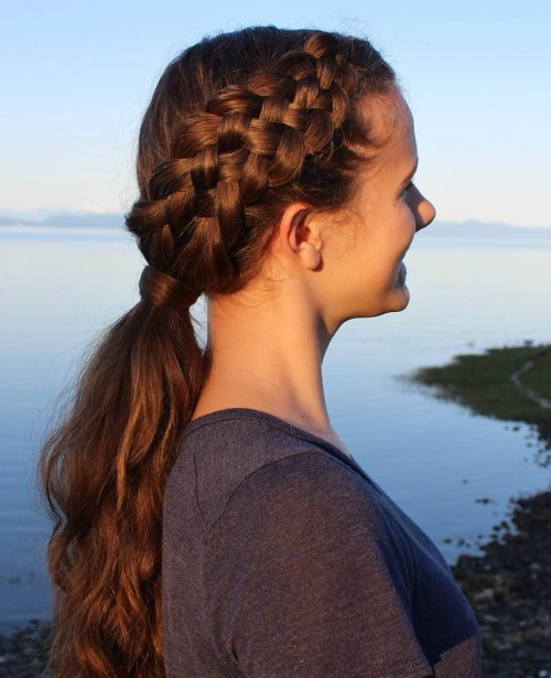 Side Strand Braid With Low Ponytail