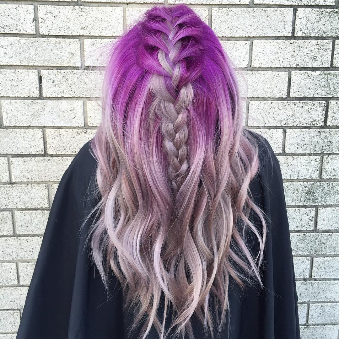 Ash Blonde Hair With Purple Roots