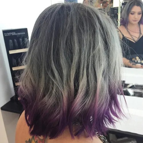 Gray Balayage And Purple Dip Dye