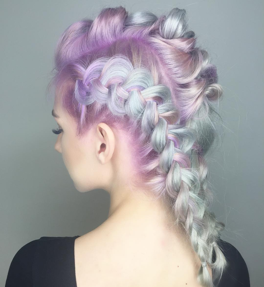 Lilac And Mint Braided Hairstyle
