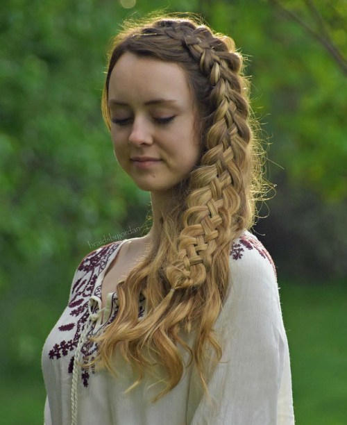 Side Hairstyle With Five Strand Braid