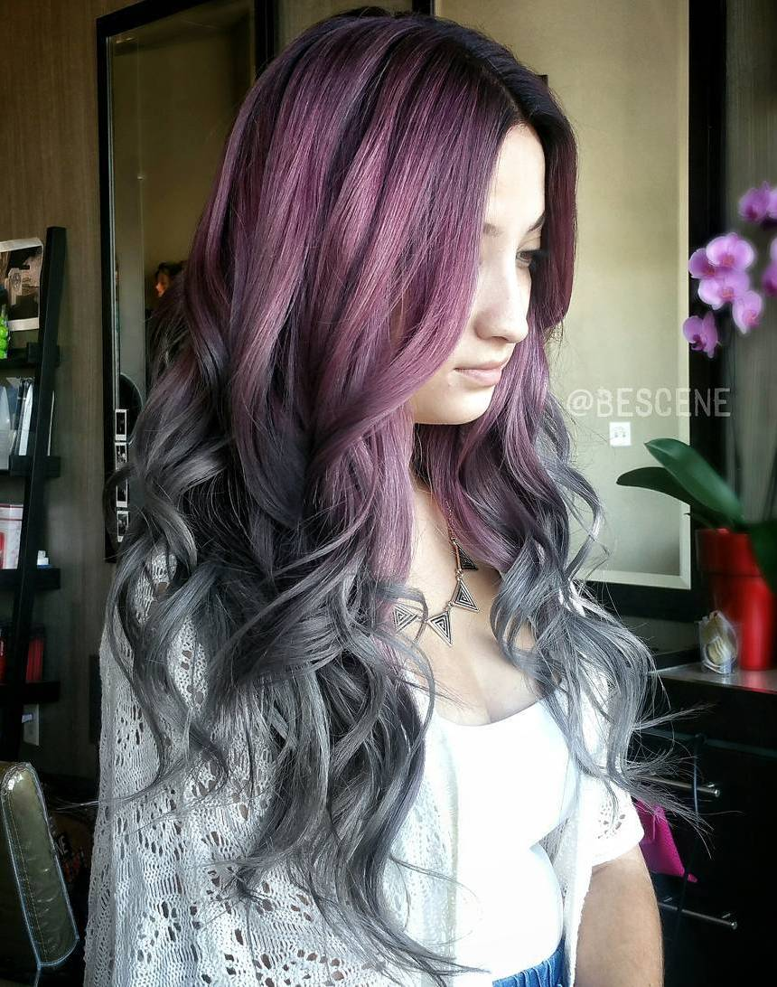 Purple To Gray Long Curly Ombre