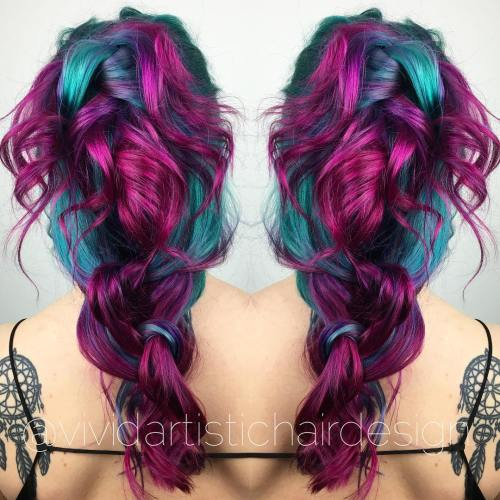 Magenta And Teal Hair Color