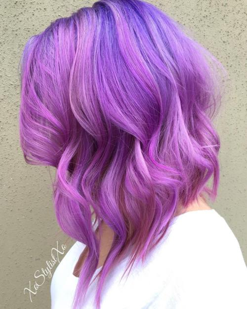 Medium Purple Pink Hairstyle
