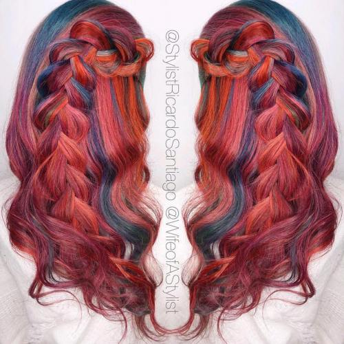 Red Hair With Blue And Orange Highlights
