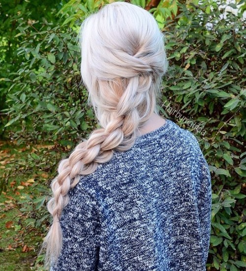 Half Updo With Chain Braid