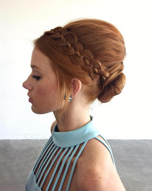 Beehive Updo With A Four Strand Braid
