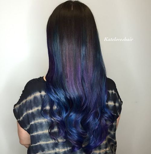 20 dark blue hairstyles that will brighten up your look dark brown hair with purple and blue highlights pmusecretfo Choice Image