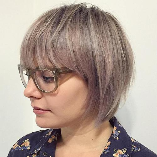 Ash Blonde Layered Bob With Bangs