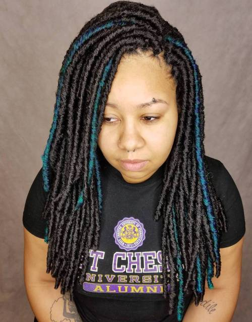 Layered Faux Locs With Highlights